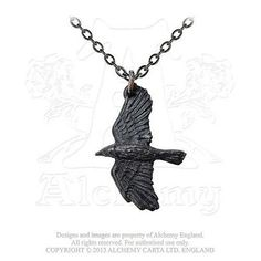 """The raven, a symbol of protection, information and dark secrets from early times in history, from Noah's Ark to Celtic and Norse mythology. Approximate Dimensions: Width 0.87"""" x Height 1.26"""" x Depth 0.13"""" Approx. Chain Length: 18"""" Materials: Fine English Pewter with Blackening"""