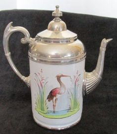 ANTIQUE PEWTER  Coffee Pot with Stork Decoration on White Porcelain