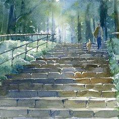 Watercolor by Osamu Shibata Kosaisya. More
