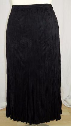 Soft Surroundings 3X Skirt Black Faux Suede Crinkle Look Flare and Flow #SoftSurroundings #FlareSkirt #Career