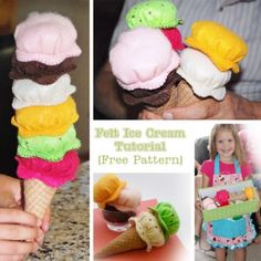 Felt Ice Cream Tutorial {Felt Food Sewing Pattern} Great gift for kids! Sewing Projects For Kids, Sewing For Kids, Diy For Kids, Crafts For Kids, Felt Projects, Felt Diy, Felt Crafts, Felt Food Patterns, Felt Play Food
