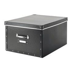FJÄLLA Kasse med låg, mørkegrå mørkegrå 40x56x28 cm