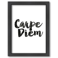 "Americanflat ""Carpe Diem"" Framed Wall Art ($69) ❤ liked on Polyvore featuring home, home decor, wall art, multicolor, colorful wall art, framed wall art, colorful home decor, vertical wall art and motivational wall art"
