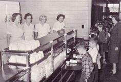 Grade school cafeteria line - 1956