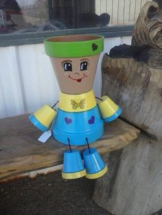 Blue 4 inch Flower Pot people planter by crazycraftingfriends