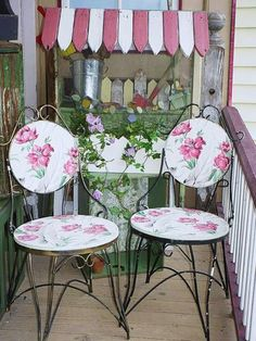 Vintage wallpaper ice cream parlor chairs ...i made the seats and backs and used alot of poly urathane for outdoor use...