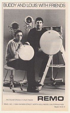 Buddy and his buddy Louis Bellson in this 1971 ad for Remo heads. Louie Bellson, Steve Gadd, Zildjian Cymbals, Dinosaur Jr, Drums Art, Master Of Puppets, Vintage Drums, Thing 1, North Hollywood