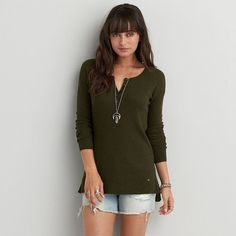 AEO Henley Pullover Sweater featuring polyvore, fashion, clothing, tops, sweaters, green, american eagle outfitters sweaters, american eagle outfitters, crew-neck sweaters, crew neck pullover sweater and green pullover sweater