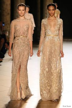 elie saab fall winter 2012 2013 couture gold long sleeve dresses