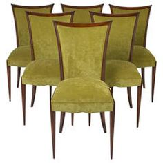 Art Deco Period Set of Six Dining Chairs | From a unique collection of antique and modern dining room chairs at https://www.1stdibs.com/furniture/seating/dining-room-chairs/