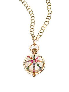Temple St. Clair Celestial Cosmos Rock Crystal, Multicolor Sapphire, Diamond Necklace