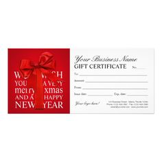 Holiday Gift Certificate Template With Red Ribbon