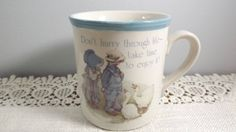 Holly Hobbie Blue Girl Stoneware Coffee/Tea Mug, Designer's Collection Made in Japan by OutrageousVintagious on Etsy