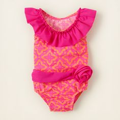 baby girl - flower belted one-piece swimsuit | Childrens Clothing | Kids Clothes | The Childrens Place