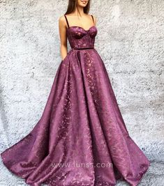 Wild plum 3D embroidered tulle floor length ball gown party and evening dress with velvet shoulder straps and belt.
