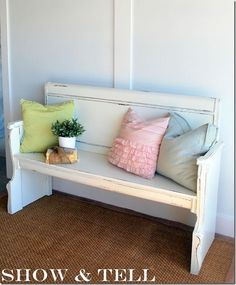 >I have seen tons of headboards turned benches out there and its been on my to-do list for about a year now. I finally got around to it and I think it turned out pretty cute :) This is not…