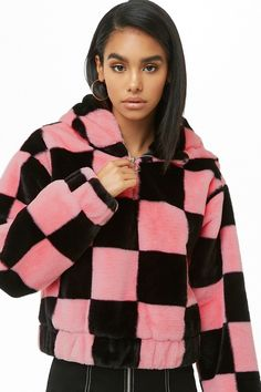 fa85d55fa66 Checkered Faux Fur Anorak Faux Fur Hoodie