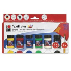 Marabu Textil Plus Fabric Paint, Starter Set: this set of six colors includes 15 ml (0.5 oz) bottles of Black, Carmine Red,  Dark Ultramarine, French Green, Medium Yellow, White and one brush.  $8.59 at Blick online.
