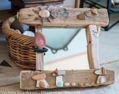 FantaSea - Made by Natassa Klavdianou Driftwood Mirror, Sea, Handmade, Hand Made, The Ocean, Ocean, Handarbeit
