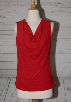 Ellen Tracy Size S, Small Red Cowl Neck Sleeveless Fitted Top Blouse Shirt  #EllenTracy #Blouse #Career