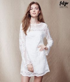 Tokyo Darling Long Sleeve Embroidered Lace Dress