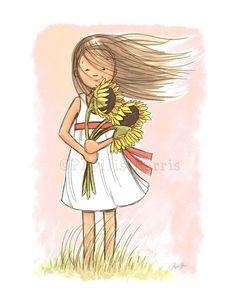 Windy Sunflower Girl