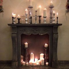 Candles in the fireplace. Choose a candle color that is opposite of the paint.