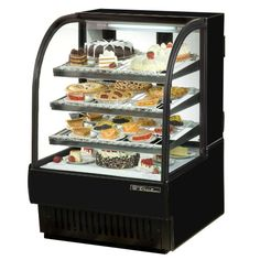 """Black Laminate Exterior True TCGR-31 Curved Glass Refrigerated Bakery Display Case 31"""" - 16.5 Cu. Ft."""