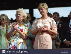 Diana Princess of Wales at Wimbledon Tennis Championships with her mother Frances Shand Kydd Stock Photo
