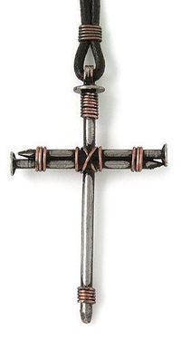 Bob Siemon Nail and Copper Wire Cross Pendant on Leather Cord, 30 - Necklaces - Jewelry - Frequently updated comprehensive online shopping catalogs Wire Crafts, Metal Crafts, Jewelry Crafts, Handmade Jewelry, Diy Schmuck, Schmuck Design, Cross Jewelry, Metal Jewelry, Wire Crosses