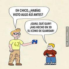 Spanish jokes for kids, chistes para niños: El icono de guardar en 3D.