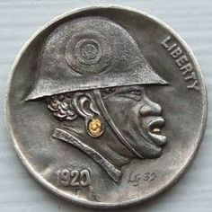 Goetz' Black Soldier on Buffalo Nickel Hobo Nickel, African American History, Buffalo, Coins, Carving, Soldiers, Warriors, Military, Board