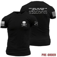 You know that feeling you get when someone is breathing down the back of your neck? You can avoid that now.  Grunt Style's Stay Back shirt is made of 100% ultra soft and comfortable cotton. PREORDER ITEM ALL ORDERS CONTAINING THIS ITEM WILL NOT START SHIPPING UNTIL 5/17