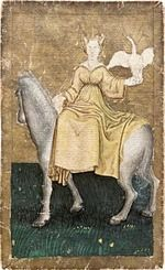 Ambras Court Playing Cards - Lady (or Queen) of Herons, c.1440-1445