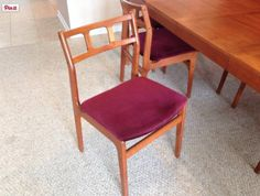 "Danish teak dining chair, 18"" x 17"" x 31.5"" tall."