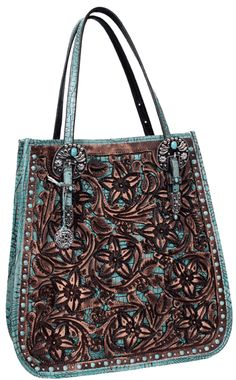 Doctor's Bag in tooled Pozzi pattern with cut outs on front and tooled Double J floral logo on back. Turquoise Gator background, trim, gusset and straps. Tula rosa buckles on strap and turquoise matrix stones around borders on front to complete the look.