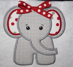Cute Elephant Applique  MARY you can do this one.....!!!