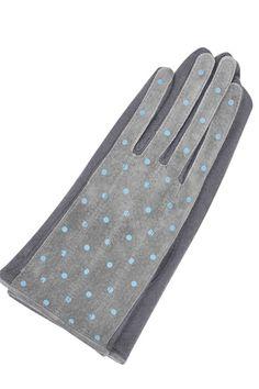 Guantes de piel gris con topos, de Essentials.