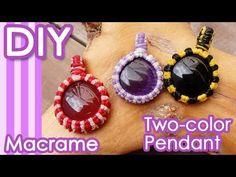 Macrame Two color Easy Pendant Tutorial Macrame Colar, Macrame Necklace, Micro Macrame, Macrame Jewelry, Macrame Bracelets, Macrame Patterns, Jewelry Patterns, Macrame Tutorial, Diy Tutorial