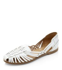 White Leather Woven Sandals