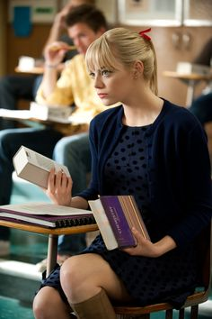 """Emma Stone in The Amazing Spiderman. """"That would be impractical. And fattening."""" (Not this scene, but hilarious quote!)"""
