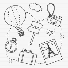 Hand drawn travel element vector set | free image by rawpixel.com / marinemynt Cute Doodle Art, Doodle Icon, Summer Coloring Sheets, Travel Doodles, Main Image, Ballpoint Pen Drawing, Doodle Art Journals, Bullet Journal Art, Travel Drawing