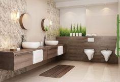 salle de bain beige avec carrelage à motifs floraux et simili bois