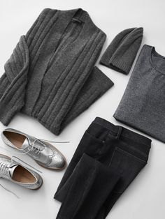 When shades of gray has a whole new meaning... The Metallic Leather Oxfords add the perfect amount of shine with the the Aire Ribbed Long Cardigan and Italian Superloft Classic Crew.