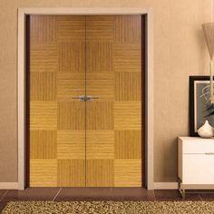 Sanrafael Lisa Flush Double Fire Door - Model K12 Reconstructed Teak Prefinished. #designerteakdoors #designerdoubledoors #firedoorpair