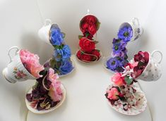 Alice in Wonderland Tea Party Wedding, Vintage Wedding Theme, Wedding Table, Wedding Flower Arrangements, Floral Arrangements, Floating Tea Cup, Teacup Crafts, Beauty And The Beast Party, Coffee Crafts