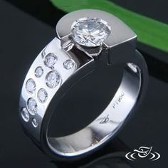 PLATINUM CONTEMPORARY DIAMOND RING #GreenLakeJewelry