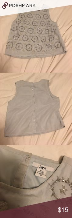 Gently worn beaded crop top Gently worn crop top light blue Topshop Tops Crop Tops