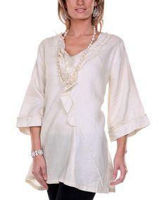 Cream Asymmetrical Ruffle Linen Tunic #zulily #zulilyfinds