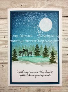 Create a lovely moonlit sky with lots of shimmer above a tree lined pool with a couple of deer with the New Snow Front scene builder stamp set. This stamp set is in the new Autumn/Winter… Winter Cards, Holiday Cards, Christmas Cards, Christmas Trees, Tarjetas Stampin Up, Stepper Cards, 1st Birthday Cards, Stampin Up Christmas, Stamping Up Cards